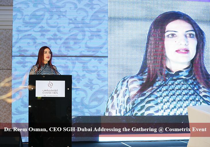 Dr. Reem Osman, CEO SGH Dubai addressing the gathering at Cosmetrix Event